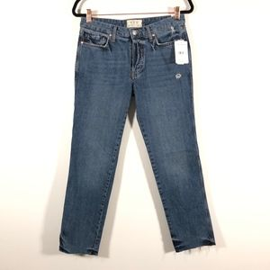 Free People Boyfriend Distressed Button Fly Jeans